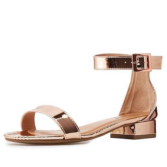 11cc47982a6 BAMBOO Shoes - Bamboo Rose Gold Small Heel Sandal SZ 8 New